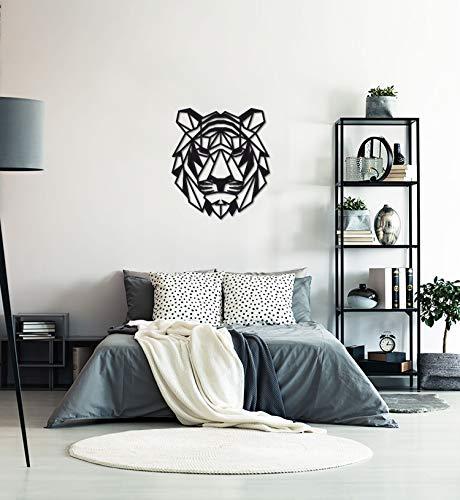 MyMaxxi | Geometric Tiger Wall Art Zimmer Deko schwarz | Tigerkopf Geometrische Wand Kunst Acryl 75x85 Wandbilder Wanddekoration | Aesthetic deko Wohnzimmer Animal Head Decorations