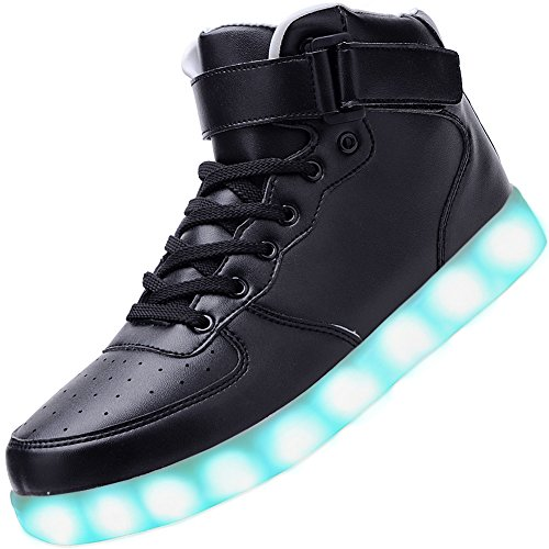 Odema Women Men High Top USB Charging LED Sport Shoes Flashing Sneakers, Black, 8.5 B(M) US
