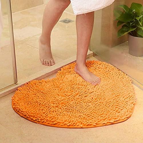 MELTSUN Badematte Love Heart Shape Badteppich, Solid Green Red Badematten Fußmatte, rutschfeste Chenille Badteppich Bodenmatte, orange, ca. 60x70cm