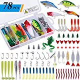 PLUSINNO 78Pcs Freshwater Fishing Lures Baits Tackle Kit, Fishing Accessories with Spoon Lures, Crankbait, Soft Plastic Worms, Spinnerbaits, Jigs, Fishing Hooks, Topwater lures for Bass, Trout, Salmon