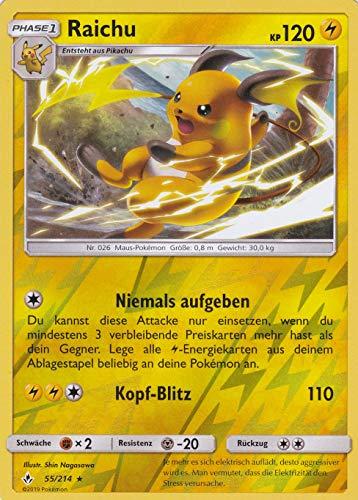 55/214 - Raichu - Rare - Pokemon - Deutsch - Kräfte im Einklang - 1. Auflage im Set mit Ultra Pro Toploader und Ultra Pro Schutzhülle (Klarsicht)
