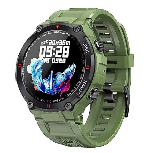 2021 Nuevo Reloj Inteligente Deportes para Hombre Fitness Bluetooth Call Multifunción Control de música Control de Alarma Recordatorio Teléfono móvil Reloj Inteligente, Monsteramy (Color : Green)