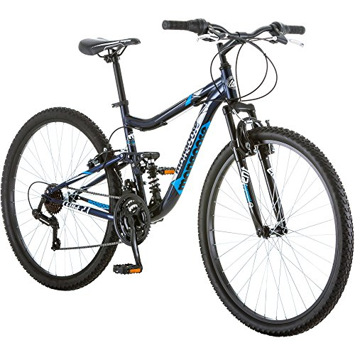 27.5' Mongoose Ledge 2.1 Men's Bike for a Path, Trail & Mountains, Deep Navy, Aluminum Full Suspension Frame, Twist Shifters Through 21 Speeds