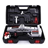 Trihelper Electric Car Floor Jack - 12V Car Jack Kit for 3 Ton Vehicle Electric Scissor Car Lift for Tire Change and Road Emergencies with Carrying Case (Grey)
