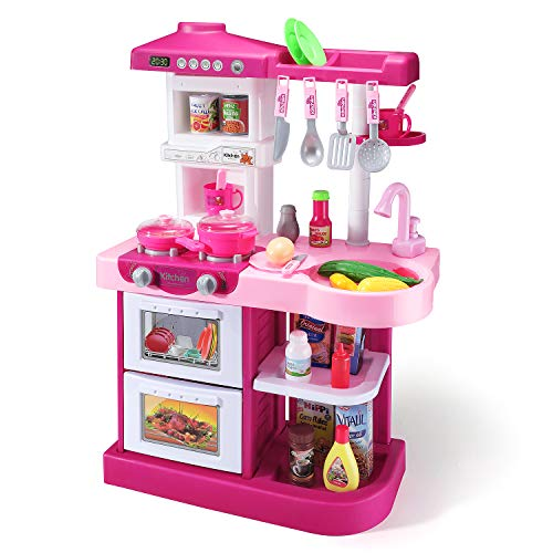 Temi Kitchen Playset Pretend Food - 53 PCS Kitchen Toys for Toddlers, Toy Accessories Set w/ Real Sounds and Light, for Kids, Girls & Boys (Pink)