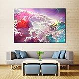 KWzEQ Imprimir en Lienzo Espacio Abstracto Nubes Coloridas imágenes Carteles y decoración del hogar para Sala de estar80x120cmPintura sin Marco