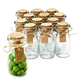 Otis Classic Small Glass Jars with Lids – Set of 12 Mini Glass Bottles with Corks for Wedding & Party Favors, DIY Crafts, Potions, Spices & Candy, 3.4 oz