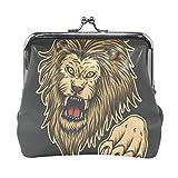 Cartera Angry Lion Attack Animal Monedero Negro Bolsas Monedero Cambio de Cuero Titular de la Tarjeta Bolso de Mano