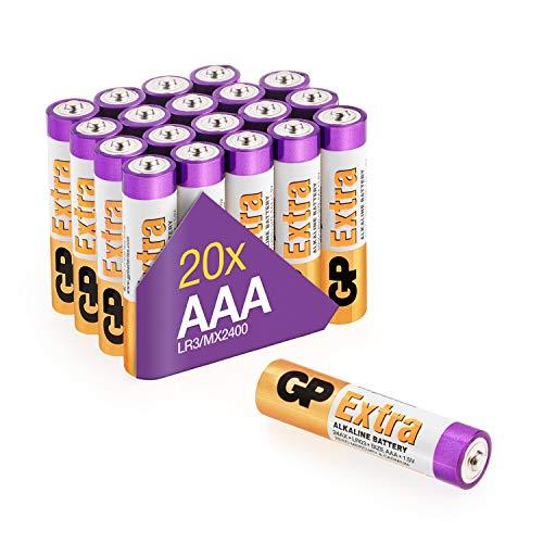 Batterie AAA - Set da 20 | GP Extra | Pile Ministilo AAA Alcaline da 1,5V / LR03 - Lunga Durata