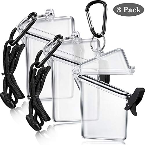 Waterproof ID Card Badge Holder Case Waterproof Sports Case Vertical Badge Holders with Lanyard and Keychain (3 Pack)