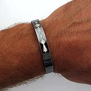 Custom Sound Wave Engraved Jewelry - Voice Wave Bracelet - Unisex Cuff - Classic Black Sterling Silver Bracelet - Gift for Him