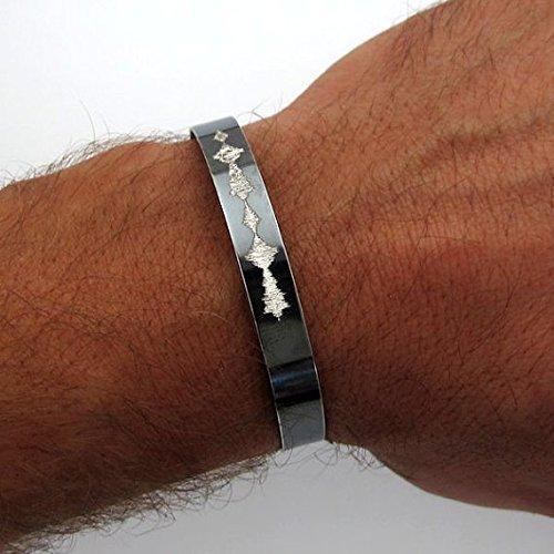 Personalized Bracelet Sound Waves Bracelet Special Gift Personalized Mens Gift Mens Leather Bracelet Anniversary Gifts Voice Recording