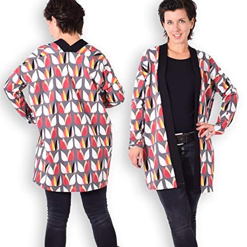 leni pepunkt Schnittmuster Cardigan Jacke Damen in den Größen XS - XXXL zum Nähen mit Anleitung und 5 Webetiketten