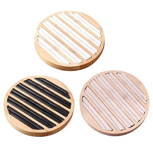 oshhni Organizzatore del Vassoio Dell'esposizione Dell'anello dei Gioielli di Raccolta Piatto Rotondo di Legno 3pc per