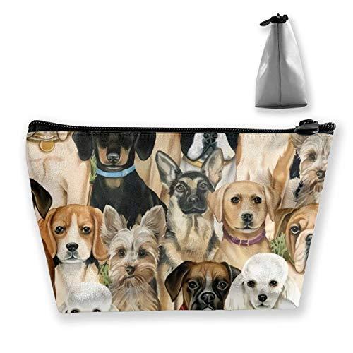 Borsa portatile per cosmetici per cani, senza cuciture, multifunzione, con stampa trapezoidale