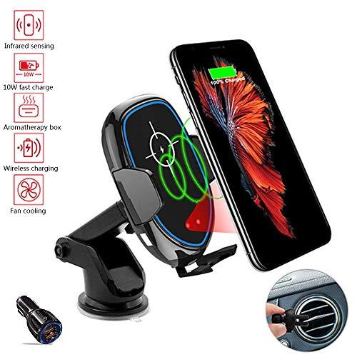 Handyhalter;rs Auto, Handyhalterung Auto Qi Lüftung Halterung Automatische-klemmung mit Ventilator und Aromatherapie-Box, 10W/7.5W/5W Ladestation;r iPhoneXS Max/XS/XR, SamsungS10+/Note 9,Black,A