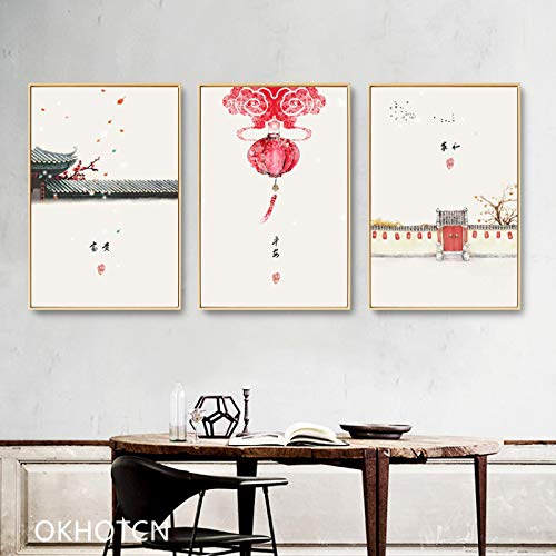 Plum Blossom Lámpara de linterna de papel redonda Impresión en lienzo Arte de la pared Rich Harmonious Estilo oriental chino Pintura en lienzo Restaurante Decoración para el hogar-30x42cmx3 Sin marco