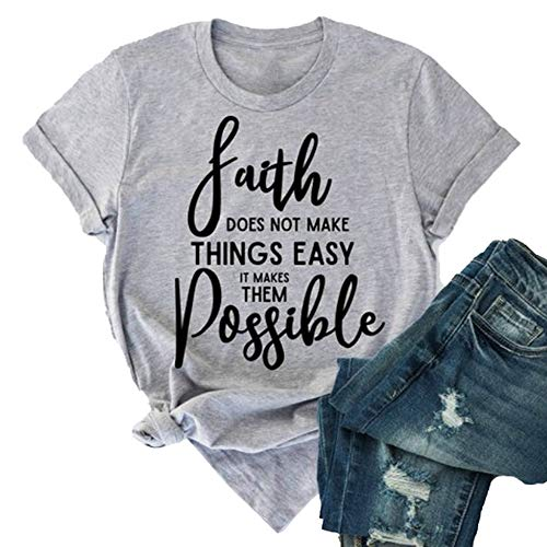 Koodred Women's Summer Casual Loose Faith Letter Print Graphic Cotton Short Sleeve Round Neck Tees T-Shirts Tops Grey
