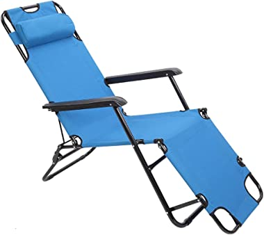 VINGLI Folding Outdoor Lounge Chairs, Camping Reclining Chairs with Removable Pillow, Potable Zero Gravity Chair, Patio Recli