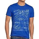 style3 X-Wing Cianotipo Camiseta para Hombre T-Shirt Fotocalco Azul t-65, Talla:M, Color:Azul