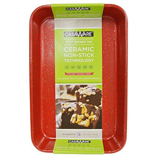 casaware Toaster Ofen Backform 7x 27,9cm Keramik Antihaftbeschichtung Red Granite