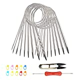 BAMZOK 11 agujas circulares de acero inoxidable Juego de agujas circulares con tijeras en forma de U Marcadores de punto Agujas de crochet dobles para principiantes y profesionales