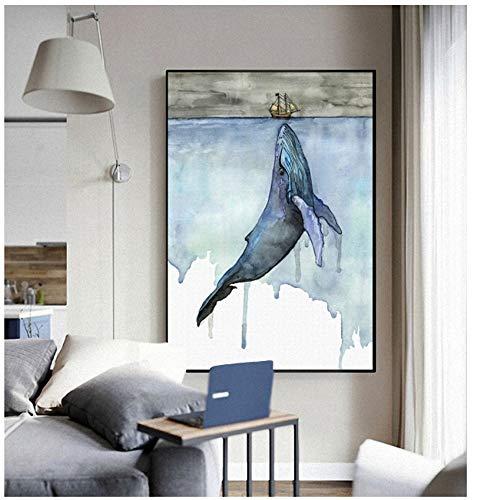 NIEMENGZHEN Druck auf Leinwand Meerestiere Nordic Modern Simple Style Whale Segelboot Poster Leinwand Wand Dekoration 40x60cmx1pcs Kein Rahmen