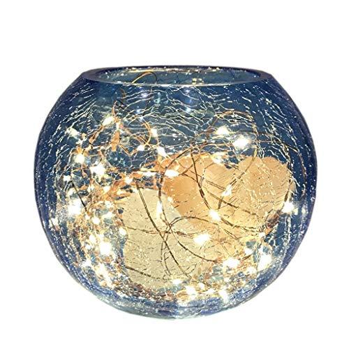 Luminaires & Eclairage/Luminaires intérieur/EC Lampe de sel en Cristal Bleu Rond Lampe himalayenne Pierre de sel Naturel LED Night Light Lampe de Chambre créative Lampe Cristal de Roche sculptée à