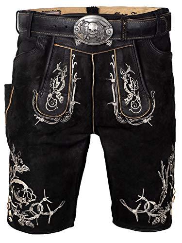 Stockerpoint Tracht Lederhose Laurenz oid gespeckt oder schwarz Totenkopf Bison Herren (schwarz gespeckt, 52)