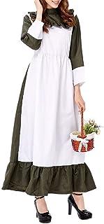 Lomelomme_Oktoberfest Lang Trachtenkleid Set Damen Langes Dirndl Spitzenschürze Schwarz Weiß Damen Kleid Lang Cosplay Maid Kostüm Bayerisches Miederröcke Karneval Halloween