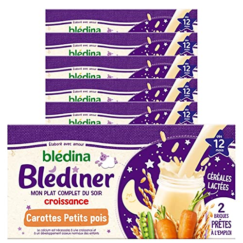 Blédina - Blédîner - 12 briques Croissance pour le Diner de bébé - Céréales Carottes Petits Pois - Pour le Diner de bébé dès 12 mois - Pack de 6x2