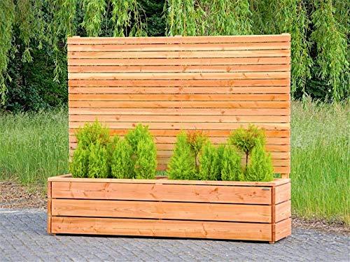 binnen-markt Pflanzkasten Holz Lang L mit Sichtschutz, Natur Geölt