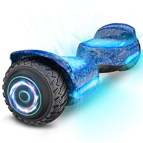 """Gyroor Hoverboard Off Road All Terrian 6.5"""" Two-Wheel G11 Flash LED Light Self Balancing Hoverboards with Bluetooth Music Speaker and UL 2272 Certified for Kids Adults Gift.(Blue)"""