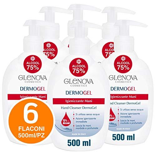 6x Flaconi Gel per Mani GLENOVA 500ml Alcool 75% Dispenser Igienizzante Antibatterico Profumato con Dosatore Sanificante Alcolico Efficace Contro Germi e Batteri