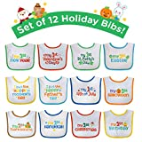 Neat Solutions 12 Pack 'My First' Holiday Bib Set, Multi