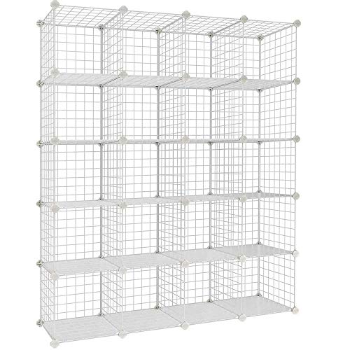 SMW 20-Cube Wire Metal Organizer Bookcase Storage Cabinet Wardrobe Closet Shelves, White
