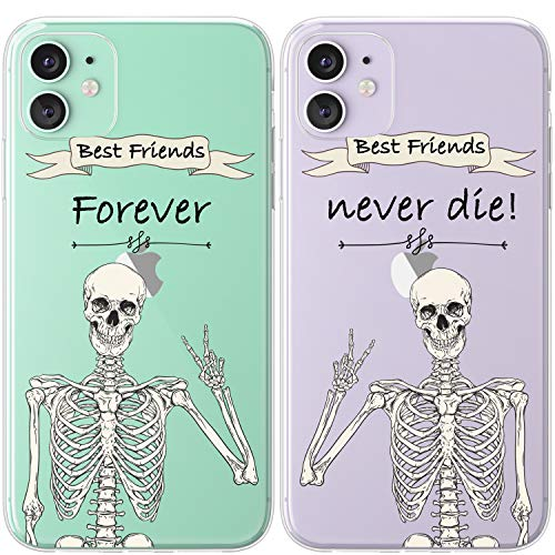 Mertak TPU Couple Cases Compatible with iPhone 12 Pro Max Mini 11 SE Xs Xr 8 Plus 7 6s Anatomy Retro Silicone Funny Peace Protective Best Friend BFFs Cute Matching Cover Skeleton Boho Lightweight