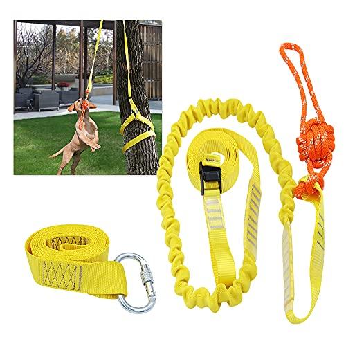Tresbro Ausziehbares, interaktives Hundespielzeug, Seilzugspielzeug für mittelgroße oder große Hunde, zum Aufhängen im Freien, Spielen, Tauziehen, extra langlebig, sicher