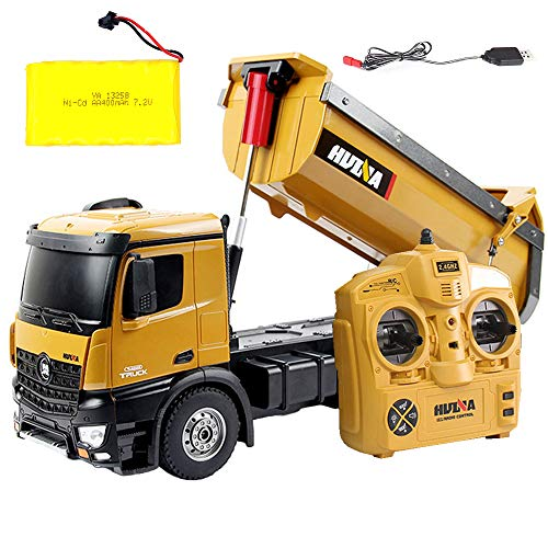 Ailejia RC Remote Control Truck Construction Dump Truck Toy 2.4GHz Huina Die-Cast Front Gift for Kids Children