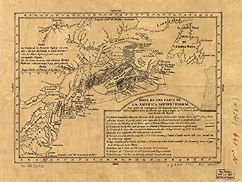 INFINITE PHOTOGRAPHS 1751 map of Virginia to Labrador Mapa de UNA Parte de la AmeriSeptentrional para