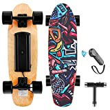 WOOKRAYS Electric Skateboard with Wireless Remote Control, 350W, Max 20KM/H 7 Layers Maple E-Skateboard, 3 Speed Adjustment for Adult, Teens, and Kids (Black)
