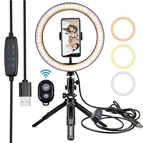 10' aro de luz LED de la lámpara de iluminación fotográfica de Relleno for el Estudio de Maquillaje de Youtube Luz del Anillo Luz del Anillo for el Ordenador portátil Luz de Relleno (Color : White)
