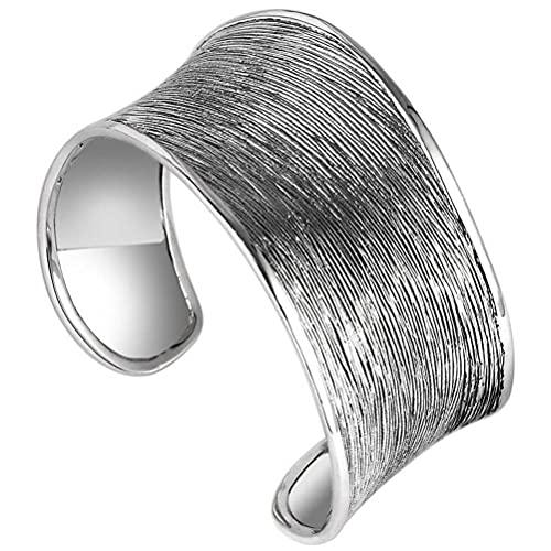WOZUIMEI Chinesischer Stil Vintage Armreif S925 Sterling Silber Armreif Schmuck Gebürstet Mode Persönlichkeit Breite Einfaches Armband Ethnischen Stil Weibliche Retro-Öffnung EinstellbarGebürstetes A