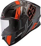SMK Stellar Swank - Casco de moto, color negro/naranja, M (58/59)