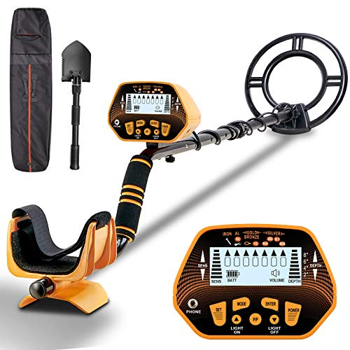 Metal Detector - Sun POW High Accuracy Metal Detector for Adults & Kids, LCD Display with Adjustable Light, Pinpoint Function & DISC Mode, 10 Inch Waterproof Search Coil, Multiple Audio Prompts