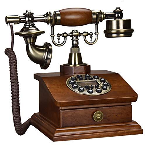 VERDELZ TeléFono Retro - TeléFono Antiguo De Madera Maciza, Dial De BotóN, DecoracióN del Hogar, TeléFono Fijo CláSico