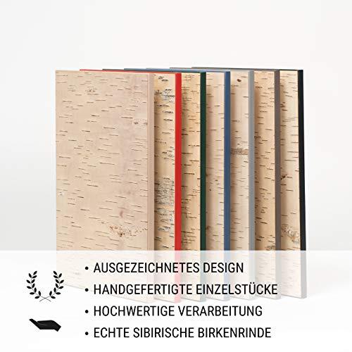 MOYA Wald Wanddeko aus Birkenrinde auf Holz - Moderne Wandverkleidung Birke Natur in Einer 3D Relief Optik – Wandpaneele Birke skandinavisch handgefertigt - Wandbild Natur Holzbild mit Rahmen,26x39cm - 4