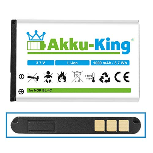 Akku-King Akku kompatibel mit Nokia BL-4C - Li-Ion 1000mAh - für 6088, 6100, 6101, 6102i, 6103, 6125, 6126, 6131, 6133, 6136, 6170