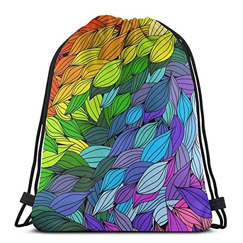 Lmtt Bolsas de cuerdas para el gimnasio Hojas de colores Mochilas Casual Unisex Escuela Bolsa de Cuerda Bolsas de Gimnasia 36*42cm