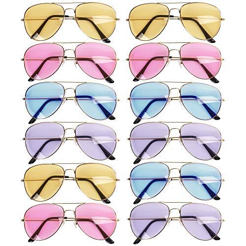 12 verschiedene farbige verspiegelte-Flieger Piloten Sonnenbrillen, mit Metallrahmen & verspiegelten Linsen - 12 verschiedene farbige Spiegel-Flieger-Sonnenbrillen, Ideal für Jugendliche und Kinder